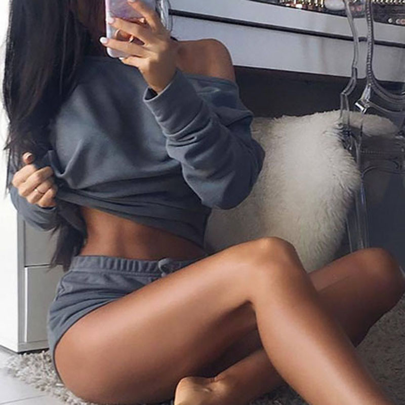 Cropped Tops Shorts-Set T-Shirts Women Tracksuit Cotton-Blend Summer 2pieces New 5-Colors title=