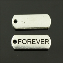 40pcs 21*8mm 2 Colors Antique Silver, Antique Bronze Forever Tag Charms(China)