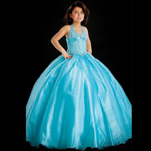 Comunion Girls Frock Designs Wedding Party Dresses Halter Princess Pageant Flower Girl Dresses Beads/Crystal Vestidos De Primera