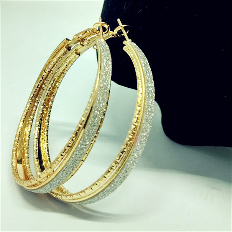 Luxury-Gold-Silver-Color-Frosted-Earring-Jewelry-Round-Big-Hoop-Earrings-For-Women-Fashion-Accessories-Party (2)