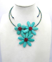 bridesmaid gifts,beadwork bib statement choker turquoises necklace Beaded Jewelry