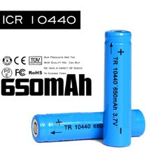Wholesale 10440 3.7v Batteries 650mah 500PCS Rechargeable Battery Charging 500 Times LED Li Ion Lithium Bateria AAA 3a Battery