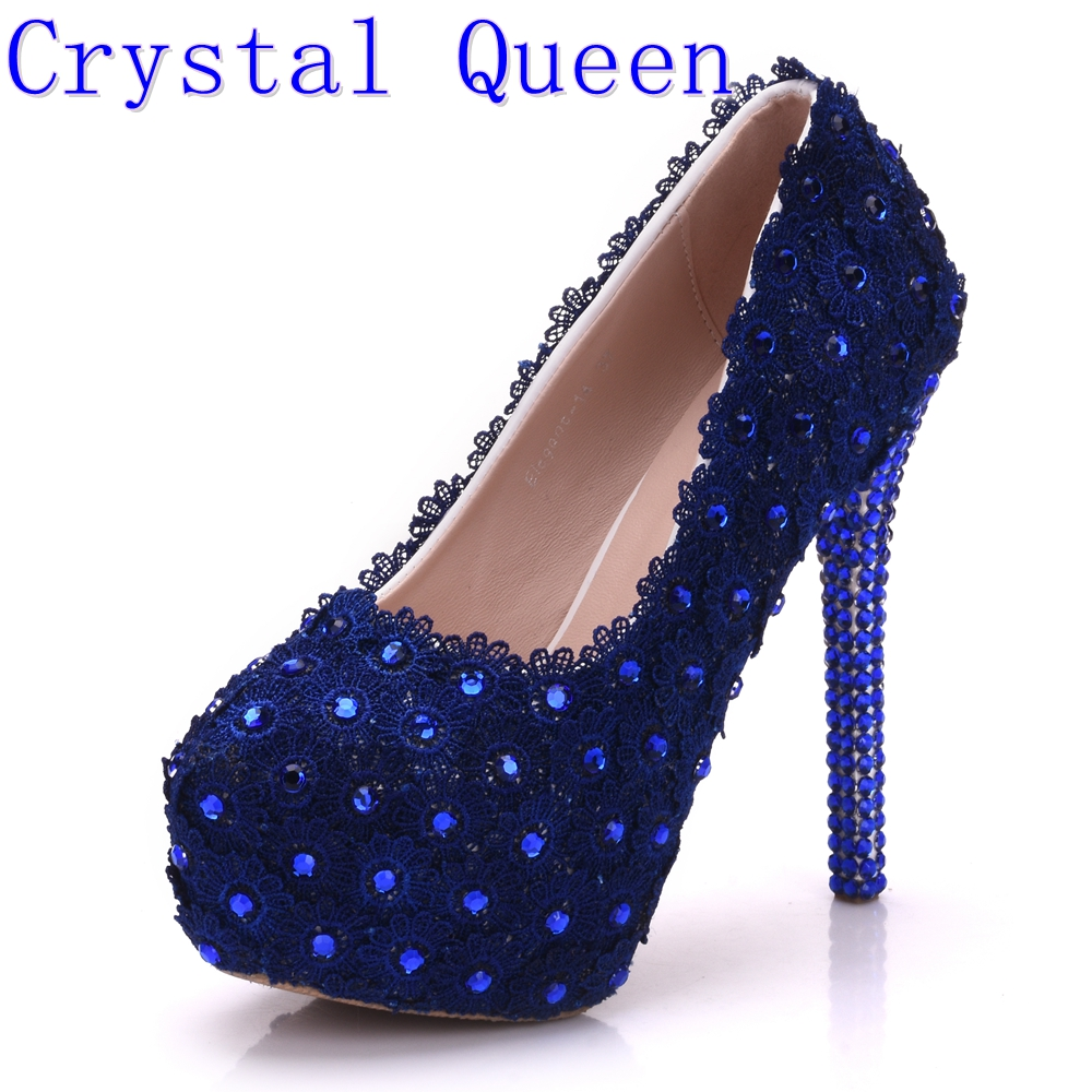 Crystal Queen Pink Lace Flower Wedding Shoes Rhinestone 14cm Ultra High Heels Platform Shoes Womens Single Bridal Dress Shoes<br>