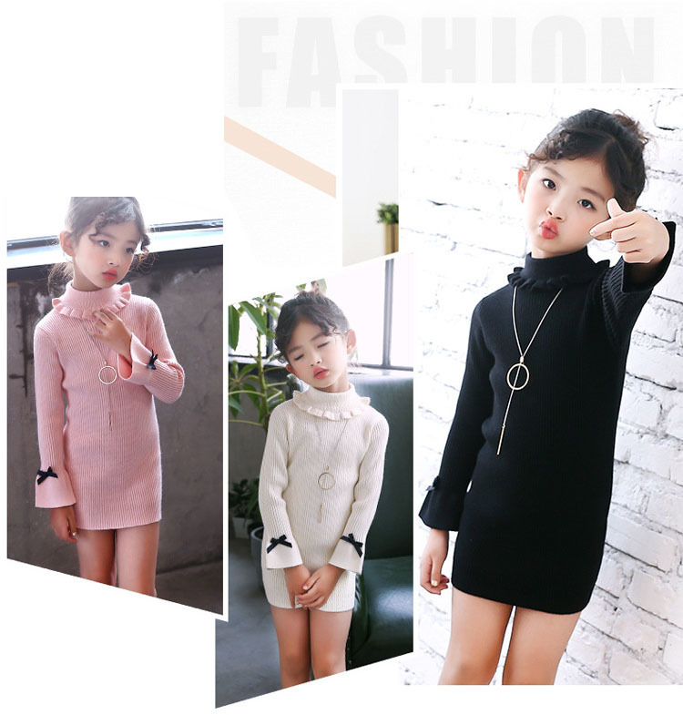 high neck knitting girls sweater dress kids clothes long sleeve knitted red black white autumn winter kids sweater knit tops 5 6 7 8 9 10 11 12 13 14 15 16 years little teenage big girls white girls dresses (16)