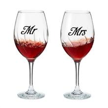 Mr & Mrs вина стеклянную банку свадебного этикета Наклейки, свадебный подарок Стикеры помолвка присутствует любовь 3 пары(China)