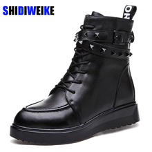 SHIDIWEIKE Women Round Toe Flat with Genuine Leather Boots Woman Fashion Vintage Martin Boot Warm Fur Winter Shoes Footwear m008