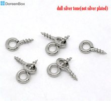 Doreen Box Lovely 1000 Silver Tone Screw Eye Bail Top Drilled Finding 8mm (B08422)(China)