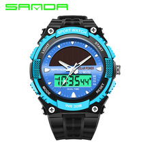 SANDA solar power watch men's sports watch men's luxury brand 30m waterproof watch Digital Quartz LED Clock Men