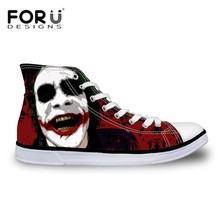 Funny Cartoon Harley Quinn Joker Shoes Fashion Canvas Shoes Women Casual High-Top Star Flat Shoes Leisure Zapatos Mujer All Size
