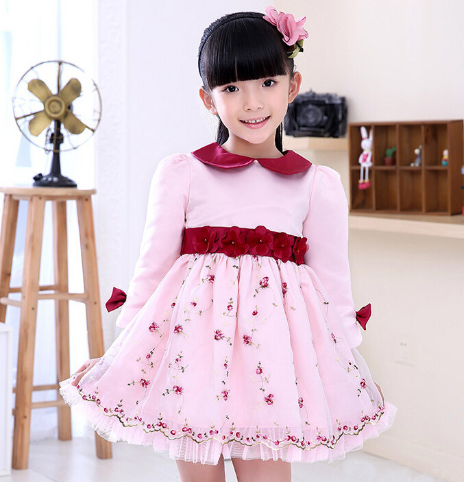 2016 pink dress girl flower girl pink dress girlss clothing spring girls floral dress long sleeve big bow party princess dress<br>