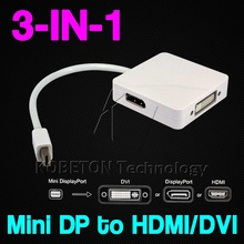 Newest For Apple Macbook Pro Air MAC for IMac Notebook Newest 3 in 1 Mini Display Port DP to DVI DP HDMI Adapter cable connector