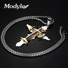 Modyle Stainless Steel Men's Large Layered Cross Pendant Necklace for Men Jewelry with 24 Inch Box Chain(China)