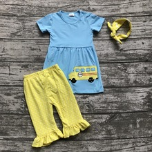 Back to school 3-8years old girls outfit clothes school bus clothing aqua yellow ruffles cotton capris with matching accessories(China)
