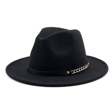 Di lana Cappello di Feltro Degli Uomini Fedora Cappelli con la Catena  Dell annata Delle 3f998a3786bd