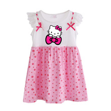 Children Girls Dress Summer 2017 New Cartoon Hello Kitty kids girls dresses Pink Polka Dots Baby girl clothes Petal Sleeve T6101(China)
