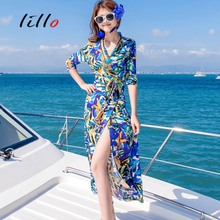 2017 Blonde V Collar Painted Paintings Romantic Paris Tones Painted Patterns Sexy Woman Forks Sleeve Dresses Beach Vacation
