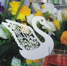 Free Shipping 48pcs White Swan Place Card Escort Card Cup Card Table name Card for Wedding banquet Dinner party Favor Decoration