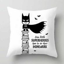 Cartoon Batman Cushion Cover Superman Mask Animated Action Figure Anime Plush Pillow Case Superhero Party Supplies For Boy Gift(China)