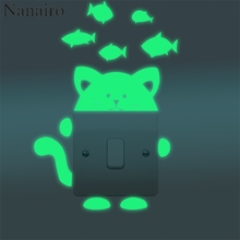 2pcs Luminous DIY Cute Home Cat Switch Wall Sticker Night Light Bedroom Fluorescent Sticker Mural Wall Decals Toilet Decoration(China)