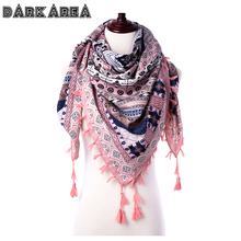 DARKAREA 2017 High Quality Winter Scarf Tassel Women Scarf Bohemian Style Women Scarf Square Wraps Women Winter Printed Shawls(China)