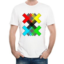 Fashion Rainbow X Design T-Shirt Men's Personalized Custom T Shirts Summer Casual Street wear Short Sleeve Tops Tee lc2948(China)