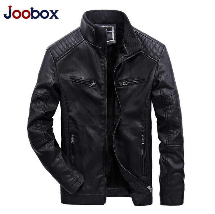 JOOBOX Motorcycle biker leather Jackets Stand Collar Slim fit Men Leather Jackets Brand coat jaqueta de couro masculina