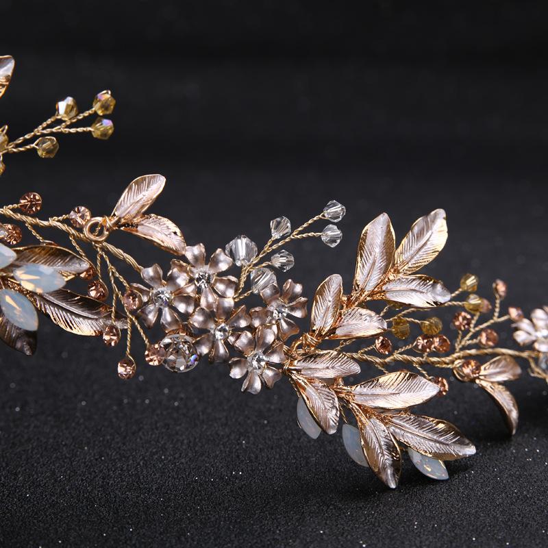 Leaf Headband baroque Bridal Hairbands Crown Headpiece Headdress Wedding Hair Accessories Bride Tiara Jewelry 5