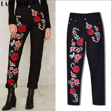 2017 Bohemian Denim Jeans Women Cotton Spring Female Rose Floral Embroidery Straight Pant High Waist Black Trouser KWA0179-45
