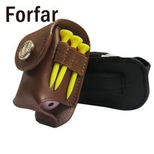 Forfar Portable Leather Golf Ball Holder Pouch Golfer Waist Pack Bag Aid Tool Gift