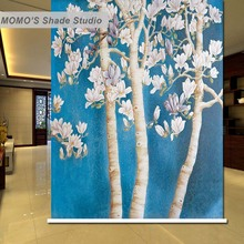 MOMO Thermal Insulated Blackout Fabric Custom Painting Tree Window Curtains Roller Shades Blinds, Alice 181-185