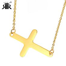RIR Stainless Steel Sideways Cross Pendant Necklace Women Thin Necklaces  with Rolo Chain e7e66e4ec667