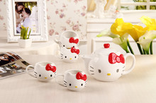 Free shipping Hot Funny cat tea sets (one pot+four cups) teapot cat mugs coffee&tea sets ,Hello kitty sets mugs For  gift