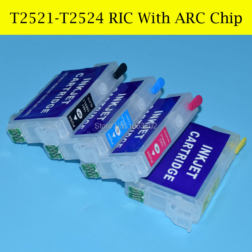 4 Piece Refillable Ink Cartridge For Epson T2521-T2524/252 With Automatic Chip<br><br>Aliexpress