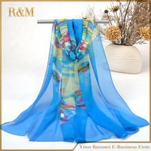 2016 Hot Sale Beautiful scarf women chiffon colorful silk feeling scarf women 's summer sunblock shawls