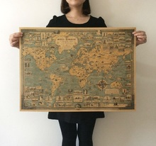 World wonders a pictorial map Vintage Style Retro Paper Poster Home wall decoration(China)
