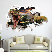 3d dinosaurs through the wall stickers jurassic park home decoration diy cartoon kids room wall decal movie mural art LT-024(China)
