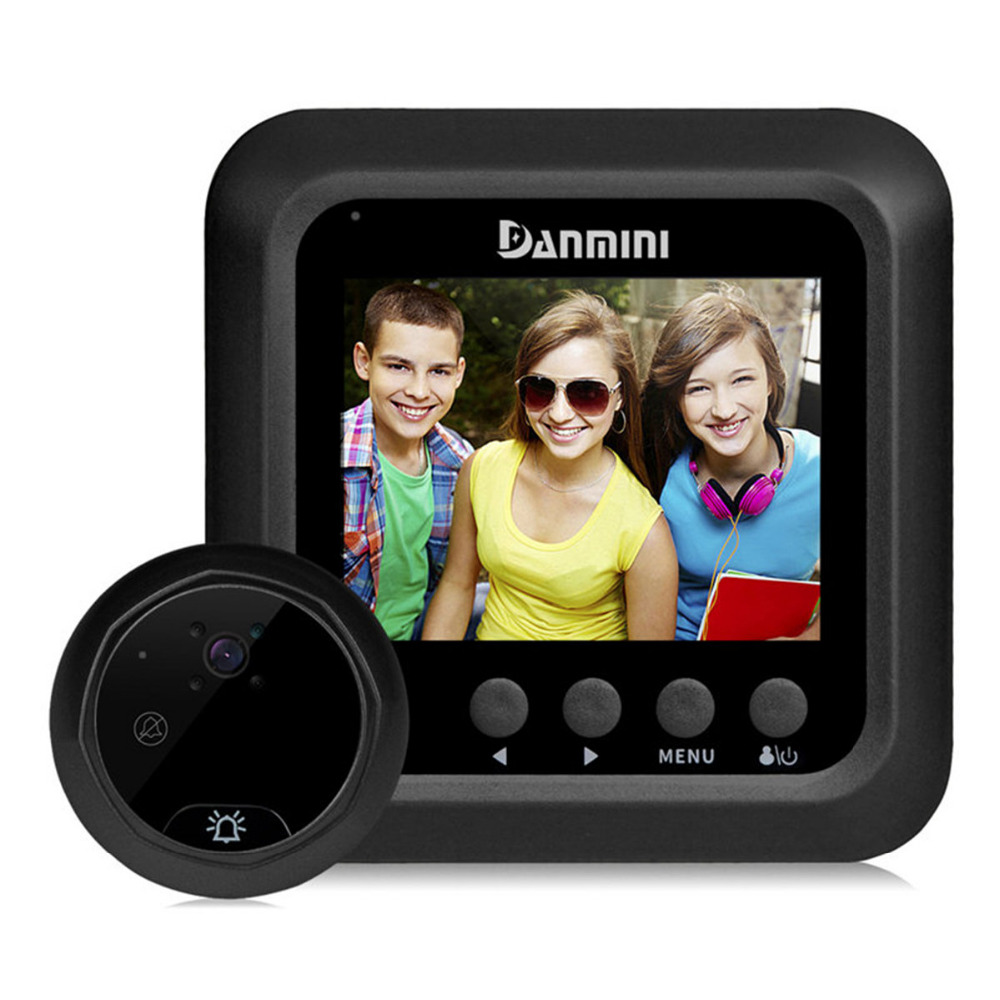 DANMINI 2.4LCD Color Screen Doorphone Wireless Video Doorbell Security Camera 160 Degrees Digital Door Peephole Viewer Doorbell<br>