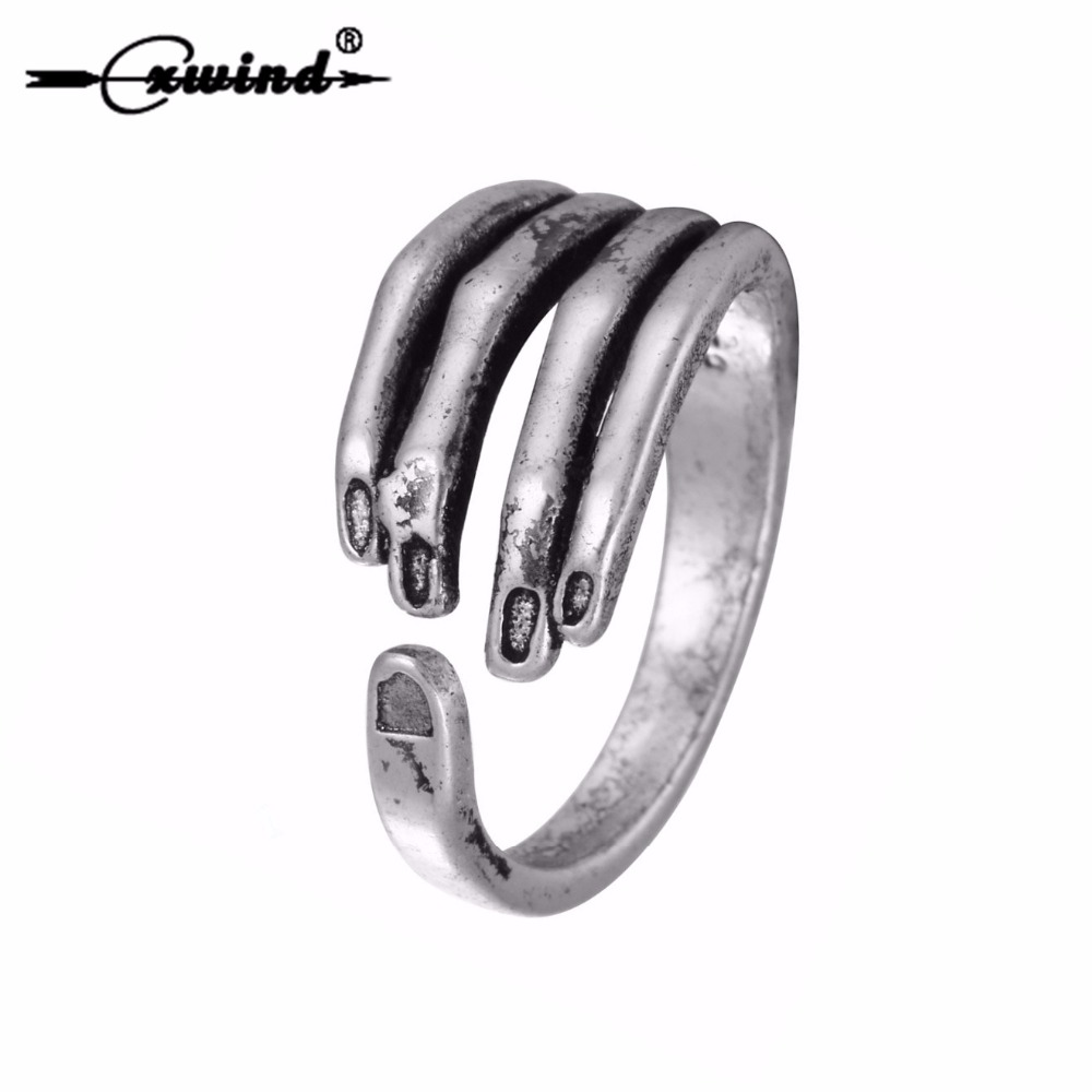 Cxwind Creative Punk Midi Retro Skull Skeleton Ring Antique Silver Hand Finger Ring For Women Jewelry Open Nail Rings Bijoux