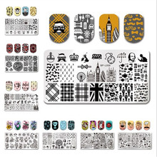 BORN PRETTY Nail Stamping Plate Flower Girl Restaurant Rectangle Template Nail Art Stamp Image Plate Polish Varnish Lacquer Tool