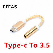 FFFAS Type C to 3.5 Earphone Adapter USB 3.1 Type-C USB-C male to 3.5mm AUX Audio female Cable Converter for Xiaomi 6 Mi6 Letv 2