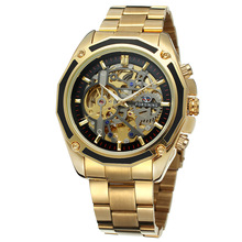 2017 Top Brand Steampunk Gold Watches Men Automatic Mechanical Skeleton Watch Men Steel Wristwatch Male Clock Relogio Masculino(China)
