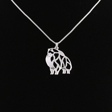 RONGQING 1pcs/lot Pomeranian Pendant Necklace Hollow Dog Pendant Charm Necklace for Women Birthday Gift Idea