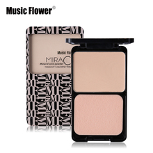 Music Flower Brand Makeup 5 Colors Face Pressed Powder Long-lasting Whitening Brighten Concealer Natural Face makeup product(China)