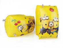 Kid Inflatable Swimming Arm Ring Cartoon Animation Girl Minions Beginner Swim Equipment Float Sleeve Safety Life Saving Bracelet(China)