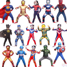 Kids Super Heroes Cosplay Costume Children's Clothing Sets Muscle Spider man Superman Ironman Captain America Batman Cos SA1354