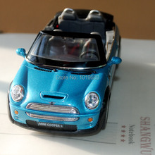 Brand New 1/28 Scae Diecast Car Model Toys Mini Cooper S Roadster Blue Metal Pull Back Car Toy For Gift/Children -Free Shipping
