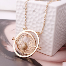 Hot Sale HOT MOVIE Time Turner Necklace Hermione Granger Rotating Spins Gold Hourglass 8 Colors