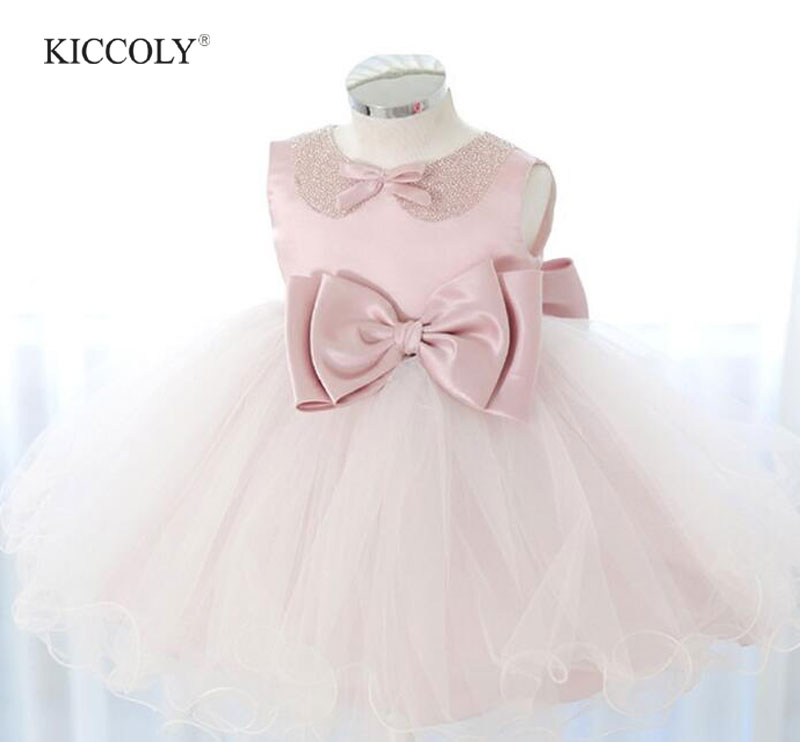 Pink Diamond Bow Girl Wedding Dress 1-11T Flower Girl Party Birthday Dresses Princess Dress Baby Disfraces Infantiles Princesa<br>