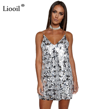 Liooil Silver Gold Sequin Summer Dress Sleeveless V Neck Sexy Straps Backless Beach Bandage Dress Women Night Club Party Dresses