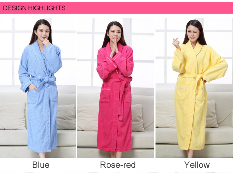 Women Men Cotton Towel Terry Bathrobes Long Sleeve Robe All Seasons for Home  Clothing Hotel Beauty Salon Spa Robes 3b00deb5f